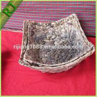 Handmade water hyacinth storage basket/shallow basket/storage woven basket