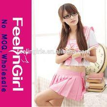Sexy pink wholesale cheap school girl teacher costume