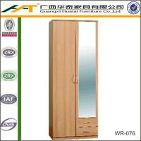 Hotel bedroom wardrobe   Beech 2 Door Mirrored With Drawrs Wardrobe