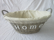 grey gift wicker laundry basket with wood words decoration and handle