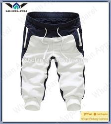Korean style color block design cotton cropped pants for men