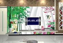 interior wall flower painting bamboo garden scenery foil wallpaper