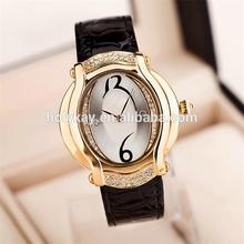 Elegant black leather gold face wrist watch luxury brand imitations