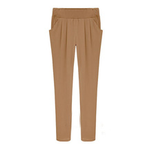 W10030 plus size slim cotton harem pants khaki lowrise trousers