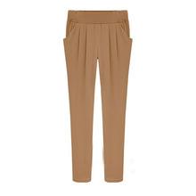 W10030 plus size slim cotton harem pants khaki lowrise trousers
