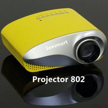 Cheap Pico LED Projector 802 Home Cinema 80 Lumens 480*320P Video Projector HDMI Portable