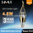 CE ROHS 4.5W e14 candle light bulbs 360lm 3 year warranty