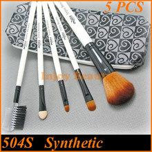 5pcs Nylon Hair Heart Printing Leather Bag Cosmetic Brush Make Up Set