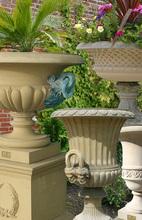 Antique artificial stone garden urn