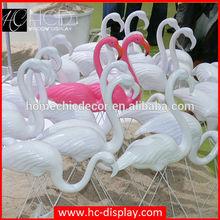 Customized fiberglass pink decorative flamingo outdoor property of christmas