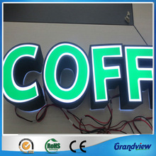 perspex material front lit 3d illuminated coffee shop sign board