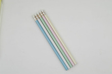 High quality fluorescent graphite lead wooden HB pencil with eraser