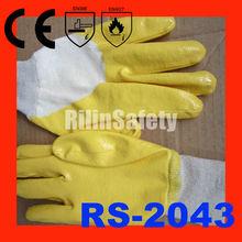 RILIN SAFETY Blur Nitrile 3\/4 Coated on White Jersey Cotton Liner Knit glove ,knit wrist latex coated glove CE EN388 EN420