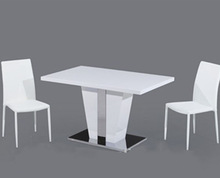 Modern stainless steel base high gloss MDF dining table