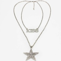 Plate Personalized Name Necklace - Custom Made Any Name,Fashion KISS+ Star Charm Pendant Necklace