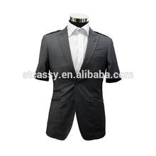dark grey textured short sleeve suit for man
