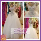 Crystal Beading Luxury Bridal Gown vestido de noiva de renda Tulle Ball Gown White Sequin Embellished V-neck Wedding Dress