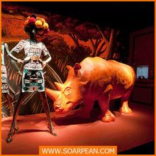 modern appearance life size decorative custom fiberglass rhinoceros statue