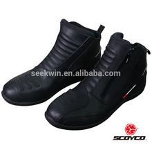 Men Biker Leather Motorcycle Shoes Waterproof Moto Biker Boots Safety Non-Silp Motocross Botas