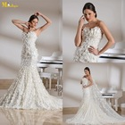 MN-112 The Most Beautiful Trumpet Sweetheart Strapless Court Train Fish Style Wedding Dress With Petals