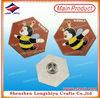 Printed honeybee badge steel alligator clip badge reel pin abdge