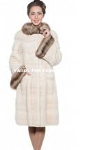 emk1442 knee-length white mink fur coat with marten collar cuffs