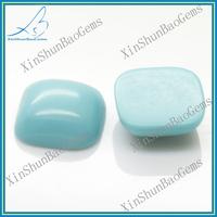 Elegant cushion turquoise color glass cabochon