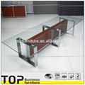 Meubles de bureau en verre avec pied en acier métal de meilleur qualité en design moderne