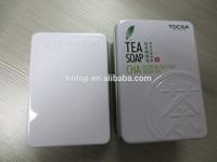Small rectangular metal tin box for tea or soap