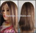 mix di colori yaki bionda e tonalità marrone vergine peruviana capelli pieni parrucche del merletto