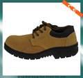 amarillo de corte bajo de gamuza de cuero suela de caucho superior zapatos de seguridad y botas