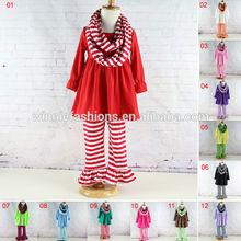 Baby clothes wholesale full Sleeve Outfits Kids 3 Pcs Clothing Sets Girls' Ruffle Pants Set