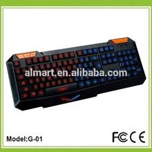 2014 Best intellectualized slim Dual backlit multimedia laser gaming keyboard