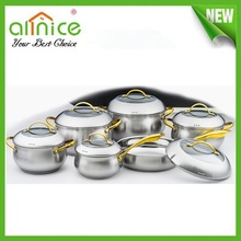 golden kitchen cookware /professional stainless steel cookware /12pcs stainless steel cookware set