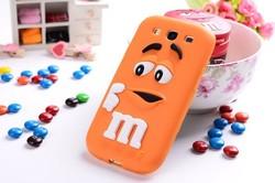 For Samsung Galaxy S3 I9300 3D Cute Silicone cartoon M&M Rainbow jelly Bean Chocolate Case,100pcs/lot