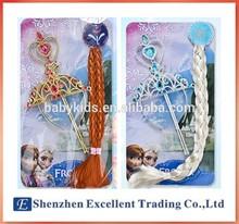 Girls Frozen Accessories (Rhinestone Crown+Wig+Magic Wand)/Elsa Anna children party accessories