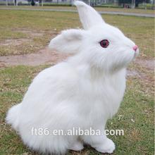 2015 wildlife realistic furry plush toy rabbit wholesale