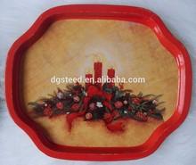 Lot of 8 Christmas Metal Tin Snack Trays