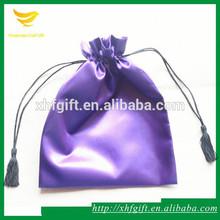 Purple satin gift bag with tassel drawstring cord