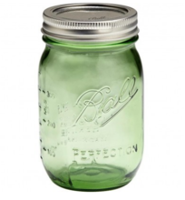 glass jars with lids green printing