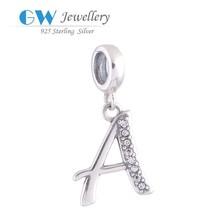 La joyería inusual venta al por mayor de plata del encanto palabras en inglés con las letras del alfabeto