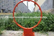 Breakaway steel basketball rim with spring