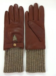 women's leather gloves long knit rib