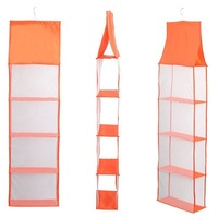 Fabric hanging closet organizer 4-shelf