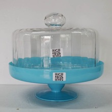 New design crystal blue paper cake cup stand with dome