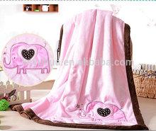 Baby blanket pink heart elephant