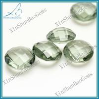 Round brilliant cut double checkerboard apple green glass stones