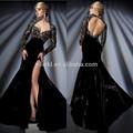 di lusso scollo a cuore aperto indietro lungo cristallo manica di velluto nero ad alta fessura caldo abito da sera in vendita