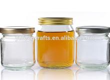 Glass Honey Jars/Clear Glass Jar & White Gingham Twist Off Lid