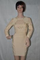 Women luxury dresses beige bodycon party bandage dress wholesale